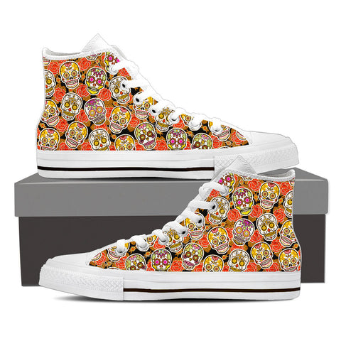 Women's Sugar Skull Custom Designed White Canvas Hi Top Shoes