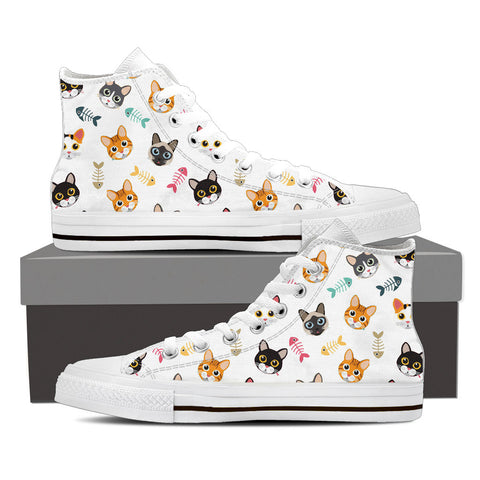 Men's Cat 'n Bone Custom Designed Hi Top Canvas Shoes In White