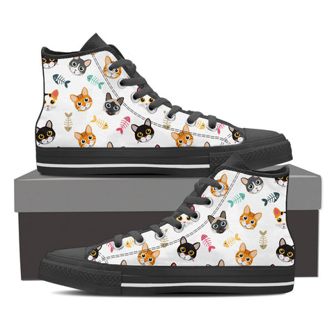 Men's Cat 'n Bone Custom Designed Hi Top Canvas Shoes In Black