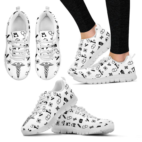 Women's Nurse Custom Designed Sneakers In White