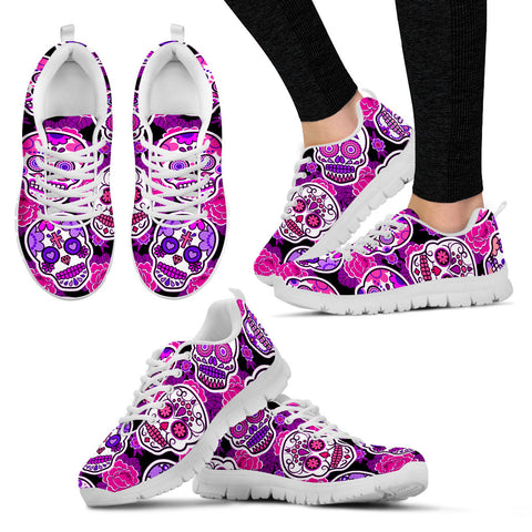 Women's White Sugar Skull Custom Designed Sneakers