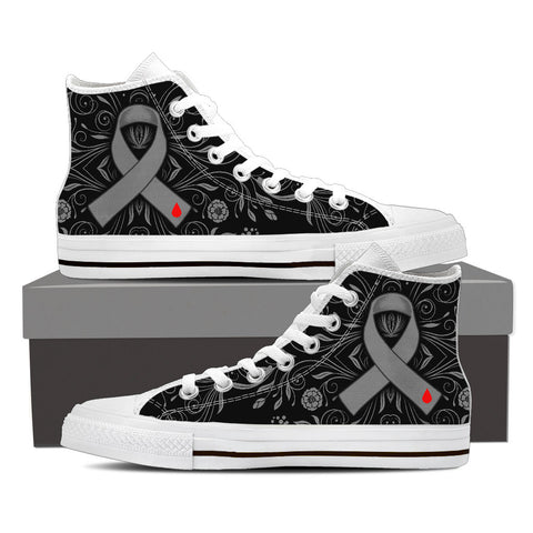 Women's DIABETES Awareness Custom Designed Hi Top Canvas Shoes In White