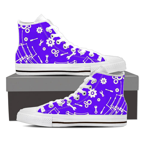 Womens High Top Engineering Canvas Sneakers In White