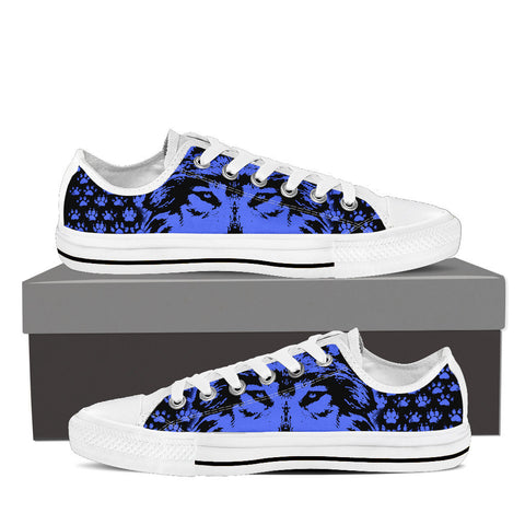 Womens Wolf Canvas Sneakers In White