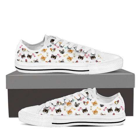 Women's Cat 'n Bone Custom Designed Low Top Canvas Shoes In White