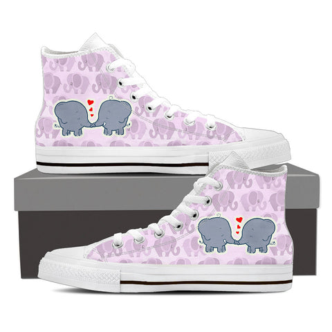 CUTE ELEPHANTS - Women's Hi Top Canvas Shoes