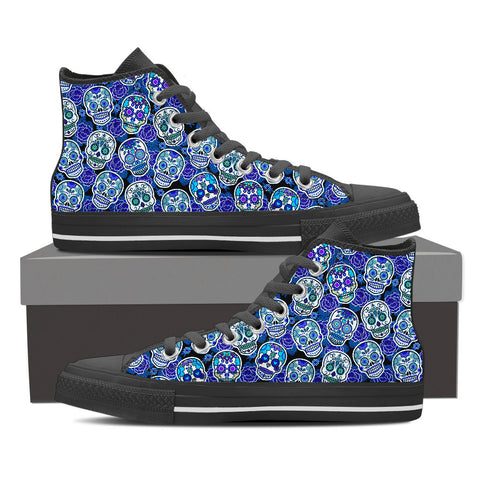 Women's Sugar Skull Custom Designed Black Canvas Hi Top Shoes