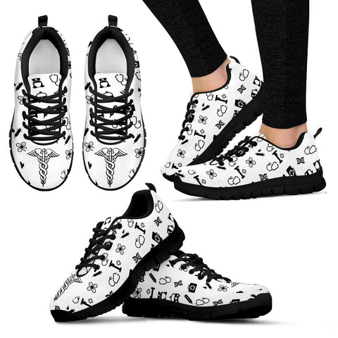 Women's Nurse Custom Designed Sneakers In Black