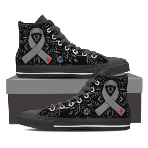 Men's DIABETES Awareness Custom Designed Hi Top Canvas Shoes In Black