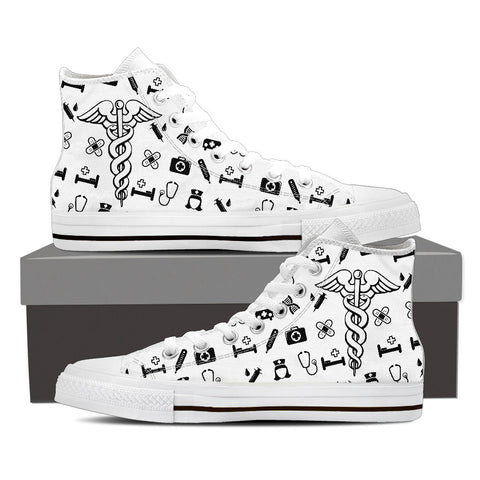 Men's Nurse Custom Designed Canvas Hi Top Shoes