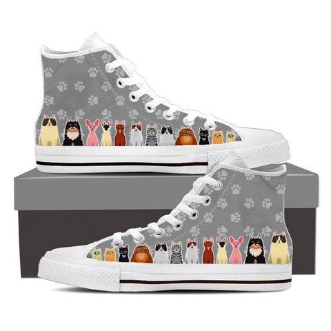 Men's Cartoon Cats Custom Designed Hi Top Canvas Shoes In White
