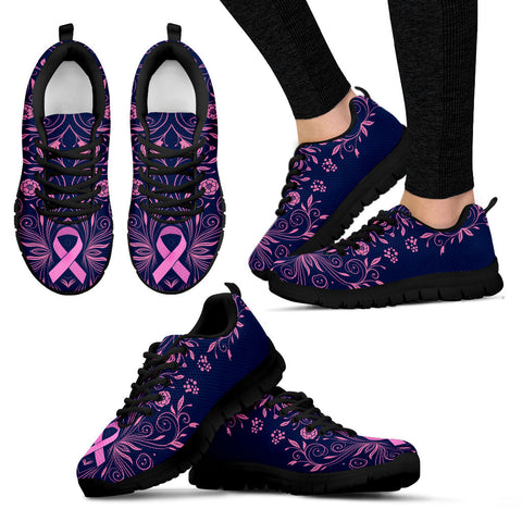 Women's Breast Cancer Awareness Custom Designed Black Sneakers