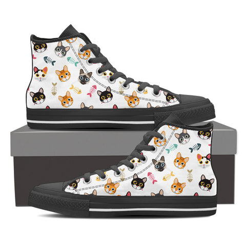 Women's Cat 'n Bone Custom Designed Hi Top Canvas Shoes In Black