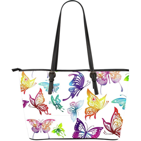 Butterfly-Theme Large Leather Tote Bag
