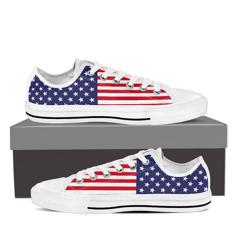 Women's 'Red, White & Blue' Custom Print White Low Top