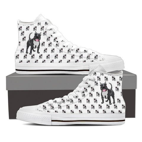 Mens Pitbull Custom Designer Hi Tops In White