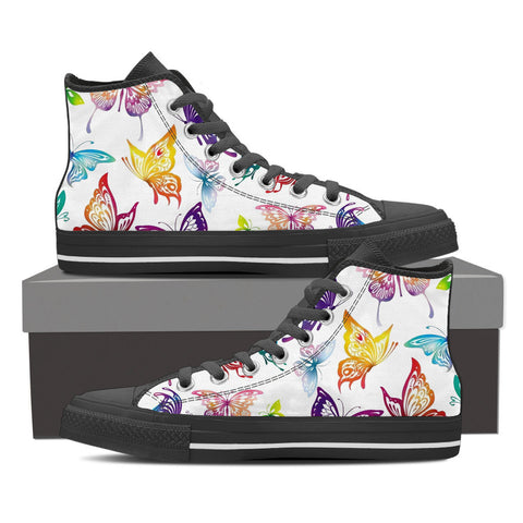 BUTTERFLIES - Women's Hi Top Black Canvas Shoes