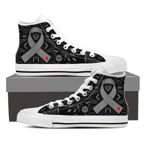 Men's DIABETES Awareness Custom Designed Hi Top Canvas Shoes In White