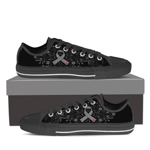 Women's DIABETES Awareness Custom Designed Low Top Canvas Shoes In Black