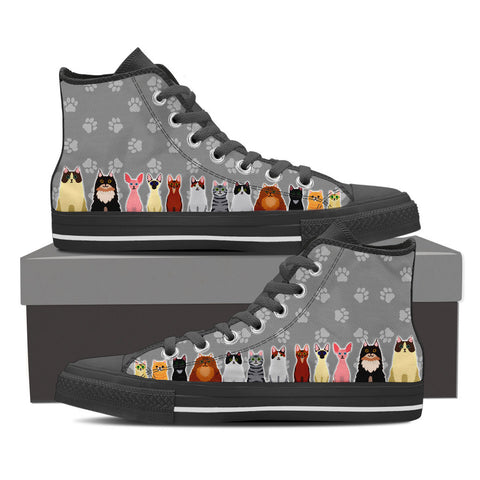Men's Cartoon Cats Custom Designed Hi Top Canvas Shoes In Black