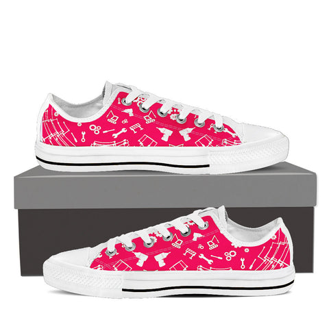 Womens Engineering Low Top Canvas Sneakers In White