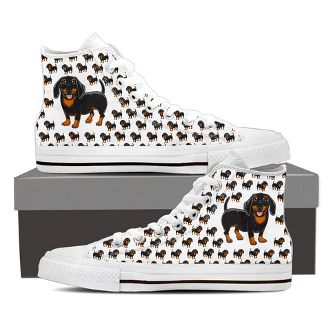 Ladies Dachshund Custom Designer Hi Tops In White