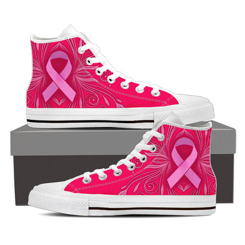Men's Breast Cancer Awareness Custom Designed Hi Top Canvas Shoes