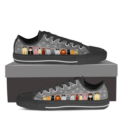 Men's Cartoon Cats Custom Designed Low Top Canvas Shoes In Black