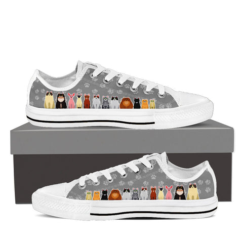 Men's Cartoon Cats Custom Designed Low Top Canvas Shoes In White
