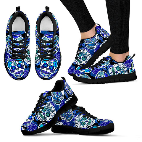 Women's Black Sugar Skull Custom Designed Sneakers