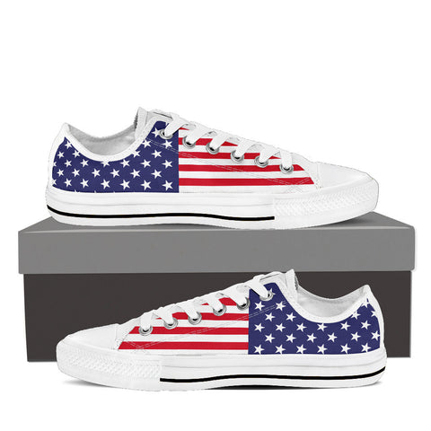 Men's 'Red, White & Blue' Custom Print White Low Top