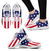 Women's 'Red, White & Blue' Custom Print White Sneakers