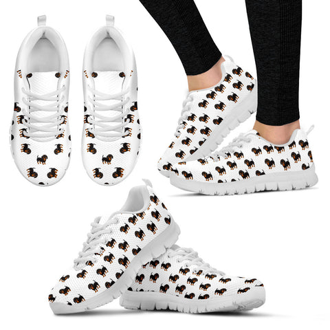 Ladies Dachshund Custom Designer Sneakers In White