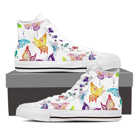 BUTTERFLIES - Women's Hi Top White Canvas Shoes
