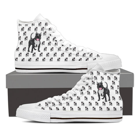 Ladies Pitbull Custom Designer Hi Tops In White