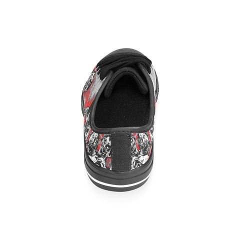 Zombie Lover - Custom Printed Men's Low Top Black Canvas Shoes