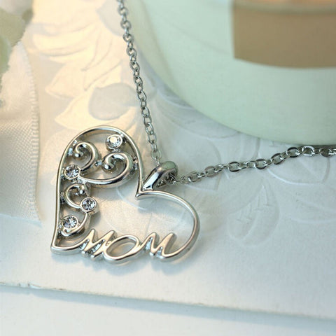 Silver Plated Heart Mom Pendant