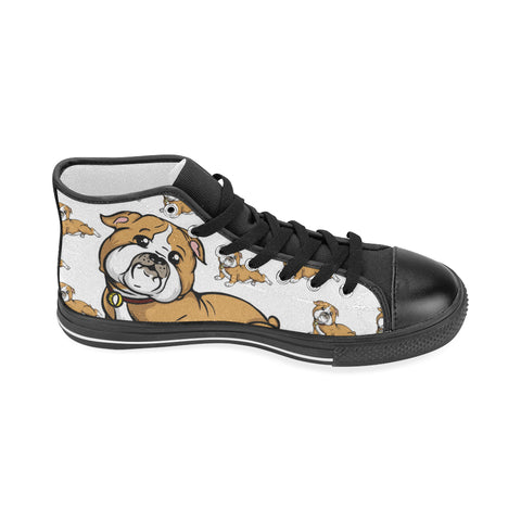 Bulldog Lover - Women's Hi Top Black Canvas Shoes
