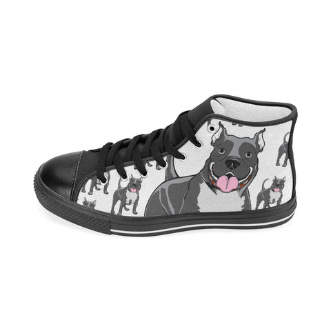 Pitbull Lover - Women's Hi Top Black Canvas Shoes
