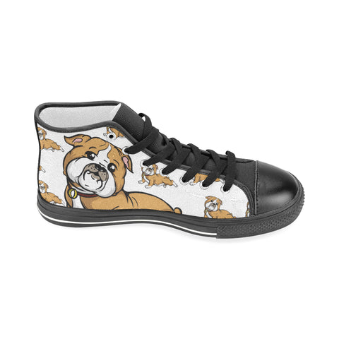 Bulldog Lover - Men's Hi Top Black Canvas Shoes