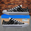 Womens Low Top Science Canvas Sneakers in Black/White