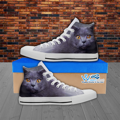 Gray Cat Lovers Hi-Top Canvas Women's Shoes