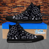 Mens High Top Science Canvas Sneakers In Black