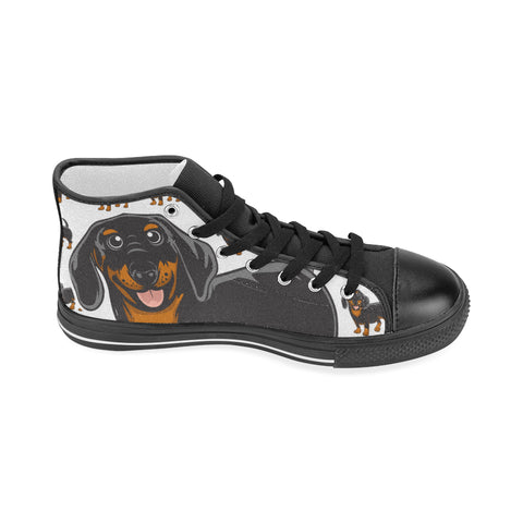 Dachshund Lover - Women's Hi Top Black Canvas Shoes