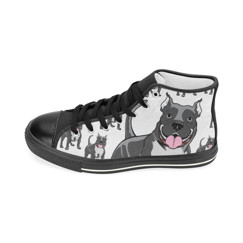 Pitbull Lover - Men's Hi Top Black Canvas Shoes
