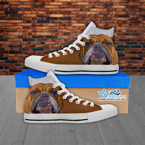 Womans Bulldog High Top Canvas Shoes