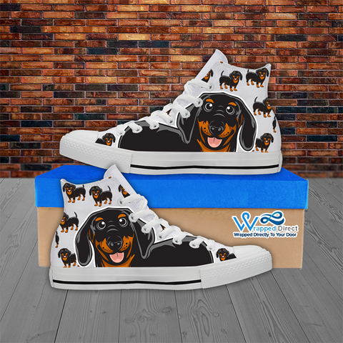 Dachshund Lover - Men's Hi Top White Canvas Shoes
