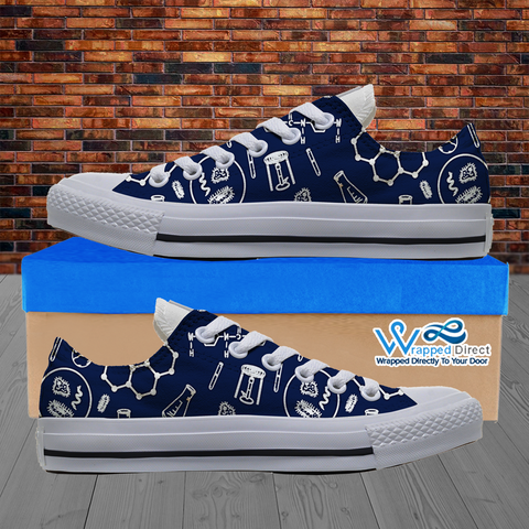Mens Low Top Science Canvas Sneakers In Navy/White