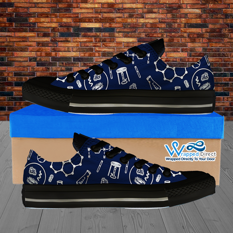 Womens Low Top Science Canvas Sneakers In Navy/Black