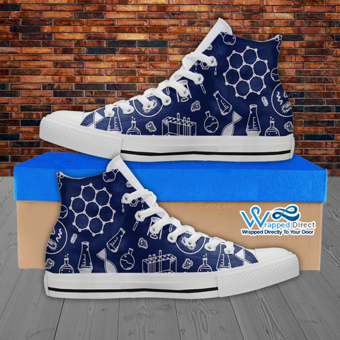 Womens High Top Science Canvas Sneakers In Navy/White
